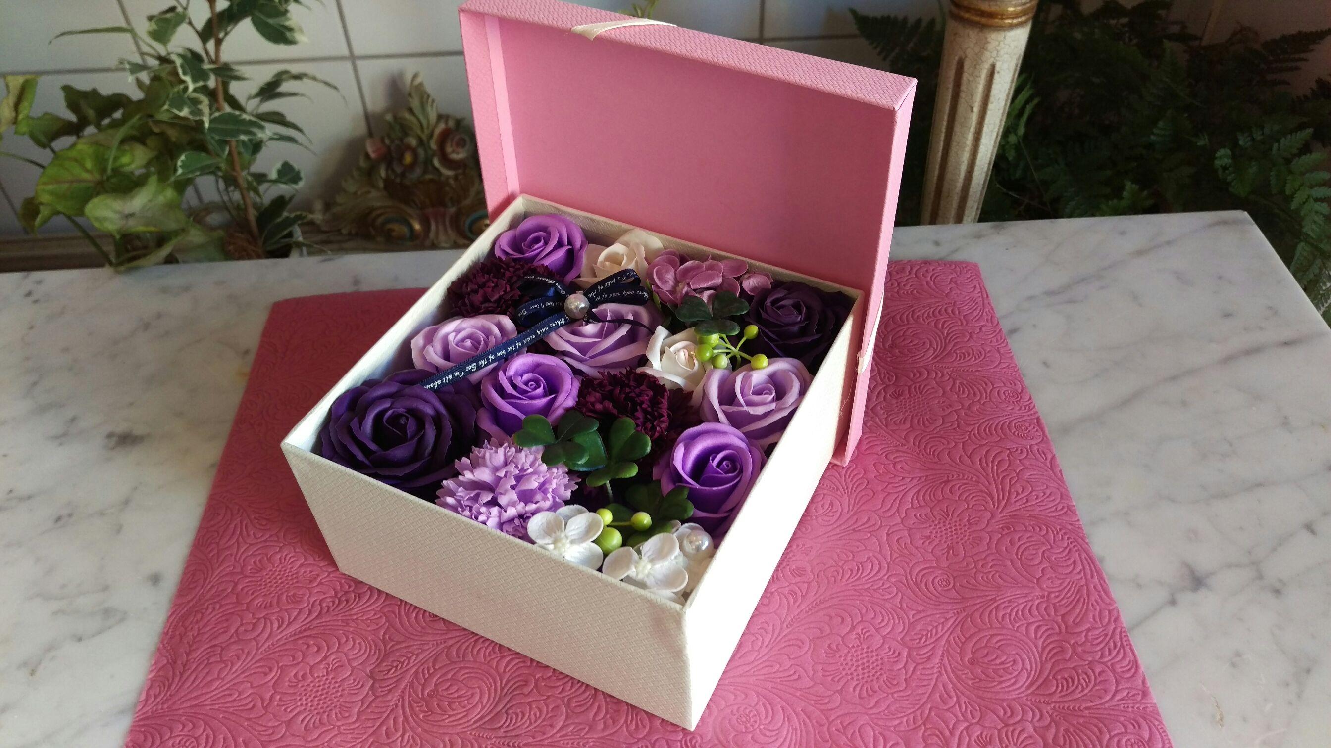 ソープフラワーボックスアレンジメント(紫)